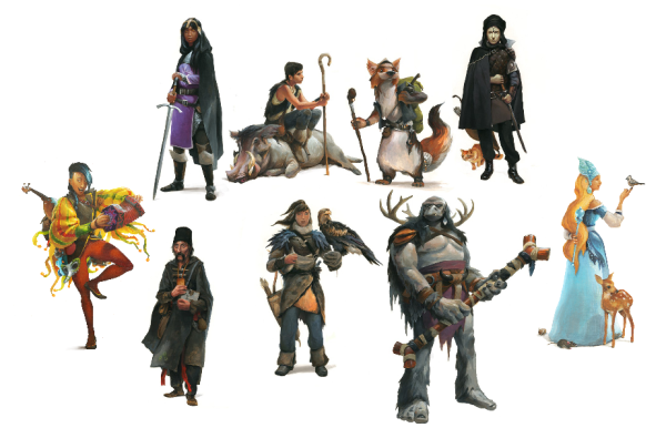There are nine character classes in the game. They are illustrated by Jari Paananen.